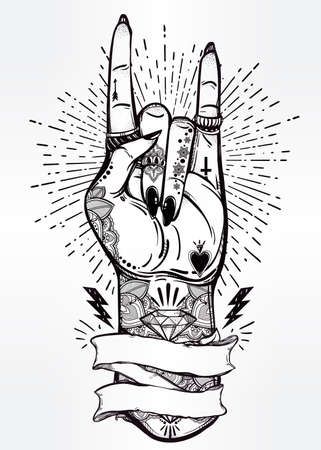 hand sign: Hand drawn romantic flesh art rock festival poster with frame for your text. Rock and Roll hand sign. Vector illustration isolated. Tattoo design, music, occult symbol for your use.