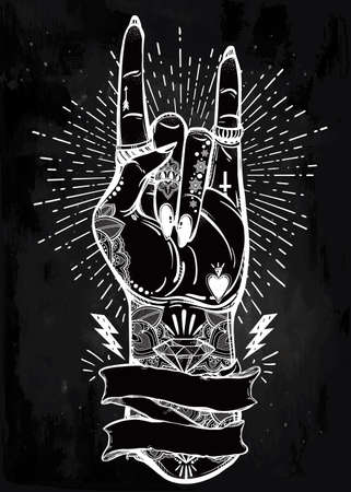 music symbol: Hand drawn romantic flesh art rock festival poster with frame for your text. Rock and Roll hand sign. Vector illustration isolated. Tattoo design, music, occult symbol for your use.
