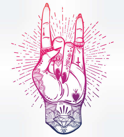 music symbol: Hand drawn romantic flesh art rock festival poster. Rock and Roll hand sign. Vector illustration isolated. Tattoo design, music, occult symbol for your use.