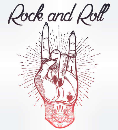 hand sign: Hand drawn romantic flesh art rock festival poster. Rock and Roll hand sign. Vector illustration isolated. Tattoo design, music, occult symbol for your use.