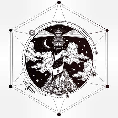 searchlight: Decorative lighthouse. Searchlight tower for maritime navigational guidance. Template in boho style. Isolated Vector illustration. Tattoo, travel, adventure, meditation symbol. The great outdoors.