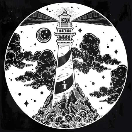 guidance: Decorative lighthouse. Searchlight tower for maritime navigational guidance. Template in boho style. Isolated Vector illustration. Tattoo, travel, adventure, meditation symbol. The great outdoors.