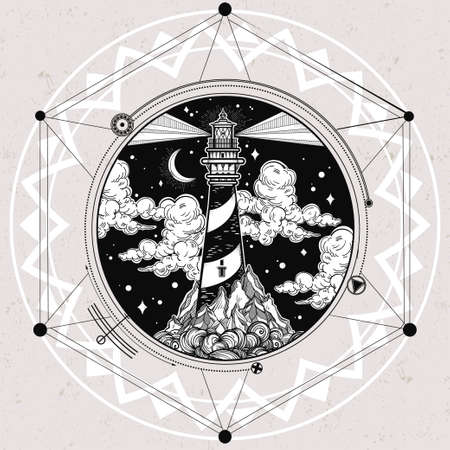 navigational: Decorative lighthouse. Searchlight tower for maritime navigational guidance. Template in boho style. Isolated Vector illustration. Tattoo, travel, adventure, meditation symbol. The great outdoors.