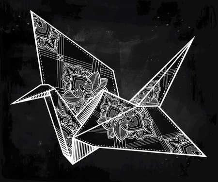 hopes: Origami  ornate crane bird. Paper crane stylized triangle polygonal model with paisley details . Hand drawn isolated vector illustration. Invitation element. Tattoo, oriental, boho, hope symbol.