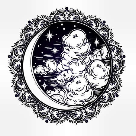 spiritual: Intricate hand drawn ornate crescent moon with stars and clouds. Isolated Vector illustration.Tattoo art, astrology, spirituality, alchemy, magic symbol. Ethnic, mystic tribal element for your use.