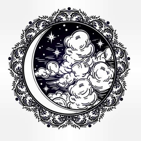 astrologie: Komplizierte Hand verzierten Mondsichel mit Sternen und Wolken gezeichnet. Isolierte Vektor illustration.Tattoo Kunst, Astrologie, Spiritualität, Alchemie, Magie Symbol. Ethnische, mystischen Stammes Element für Ihren Einsatz.