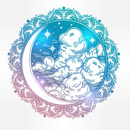 celestial: Intricate hand drawn ornate crescent moon with stars and clouds. Isolated Vector illustration.Tattoo art, astrology, spirituality, alchemy, magic symbol. Ethnic, mystic tribal element for your use.