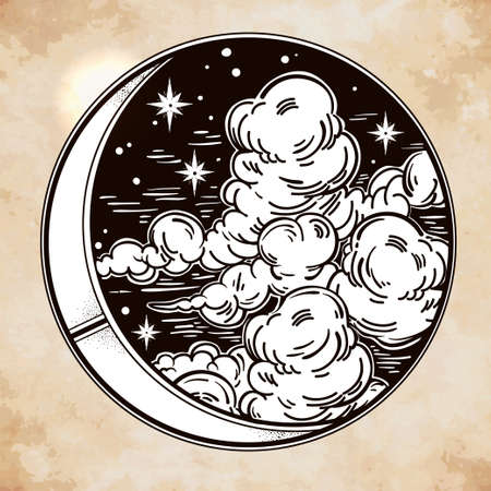 phases: Intricate hand drawn ornate crescent moon with stars and clouds. Isolated Vector illustration.Tattoo art, astrology, spirituality, alchemy, magic symbol. Ethnic, mystic tribal element for your use.
