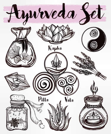 ayurveda: Hand drawn natural Auyrveda healthcare and treatment concept set. Isolated illustration in vector. Organic plants, alternative medicine background. Natural holistic ingredients. Template. Illustration