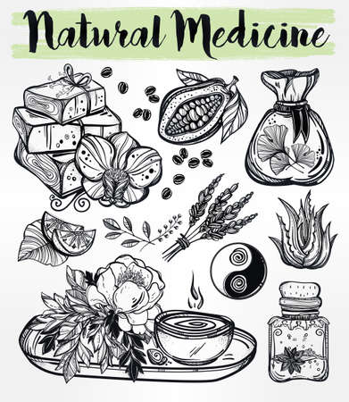 natural medicine: Hand drawn natural medicine. Organic herbs, cosmetics and healing set. Isolated illustration in vector. Organic plants, alternative medicine background. Natural holistic ingredients. Template.