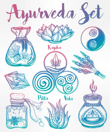 holistic health: Hand drawn natural Auyrveda healthcare and treatment concept set. Isolated illustration in vector. Organic plants, alternative medicine background. Natural holistic ingredients. Template. Illustration