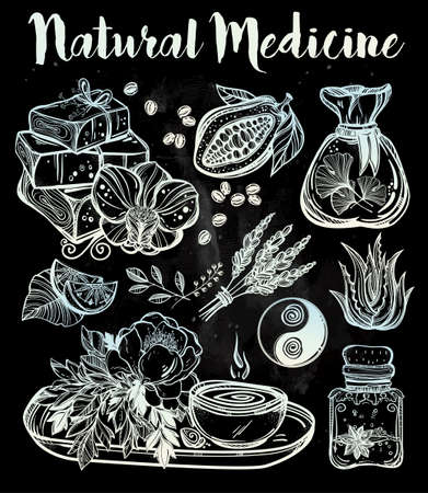 organic background: Hand drawn natural medicine. Organic herbs, cosmetics and healing set. Isolated illustration in vector. Organic plants, alternative medicine background. Natural holistic ingredients. Template.