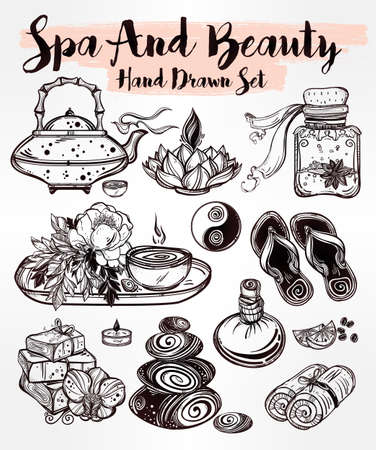 health spa: Hand drawn spa illustration set. Isolated  vector illustration. Spa therapy  objects collection, beauty health care, alternative medicine, ayurvedic therapy. Organic treatment concept for your design.