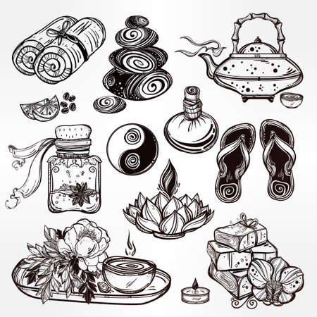 alternative therapy: Hand drawn spa illustration set. Isolated  vector illustration. Spa therapy  objects collection, beauty health care, alternative medicine, ayurvedic therapy. Organic treatment concept for your design.