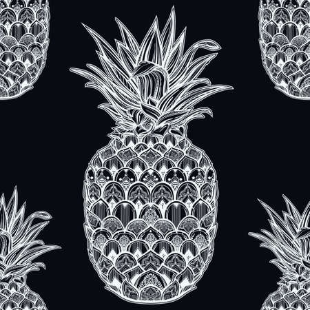 fabric pattern: Vector seamless pattern with ornamental pineapple fruit. Ethnic art, patterned paisley tile.