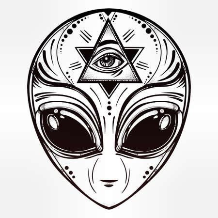 roswell: Alien face icon. Halloween, conspiracy theory, sci-fi, religion, spirituality, occultism, tattoo art. Iseolated vector illustration.