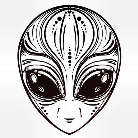 alien face: Alien face icon. Halloween, conspiracy theory, sci-fi, religion, spirituality, occultism, tattoo art. Iseolated vector illustration.