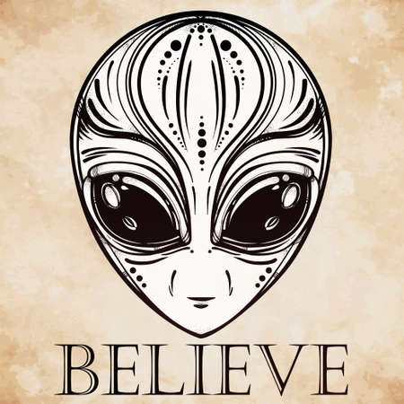 ufo conspiracy theory: Alien face icon. Halloween, conspiracy theory, sci-fi, religion, spirituality, occultism, tattoo art. Iseolated vector illustration.