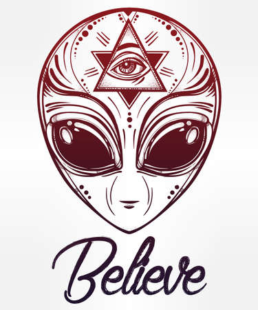 conspiracy: Alien face icon. Halloween, conspiracy theory, sci-fi, religion, spirituality, occultism, tattoo art. Iseolated vector illustration.