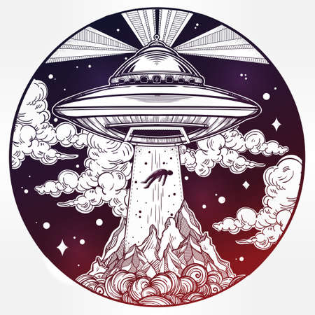 ufo conspiracy theory: Alien Spaceship. UFO Background with flying saucer abducting a human. Conspiracy theory concept, tattoo art. Isolated vector illustration.
