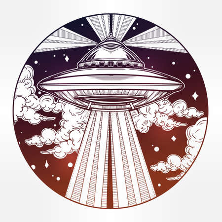 conspiracy: Abstract fantastic illustration - Alien Spaceship. UFO Background with flying saucer icon in the night sky. Conspiracy theory concept, tattoo art. Isolated vector illustration. Illustration