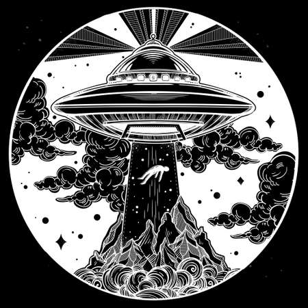 conspiracy: Alien Spaceship. UFO Background with flying saucer abducting a human. Conspiracy theory concept, tattoo art. Isolated vector illustration.