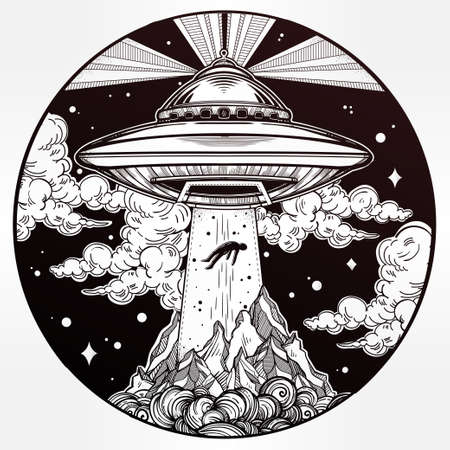 black circle: Alien Spaceship. UFO Background with flying saucer abducting a human. Conspiracy theory concept, tattoo art. Isolated vector illustration.