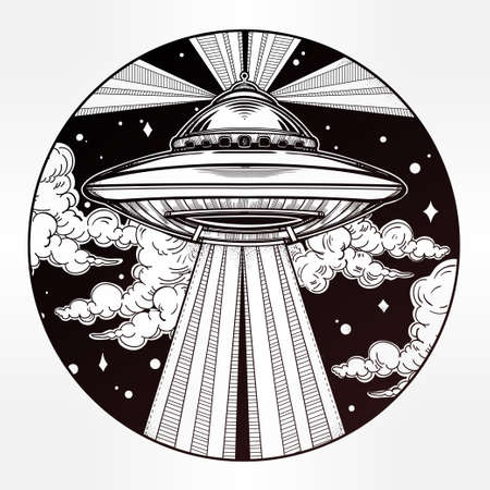 invasion: Abstract fantastic illustration - Alien Spaceship. UFO Background with flying saucer icon in the night sky. Conspiracy theory concept, tattoo art. Isolated vector illustration. Illustration