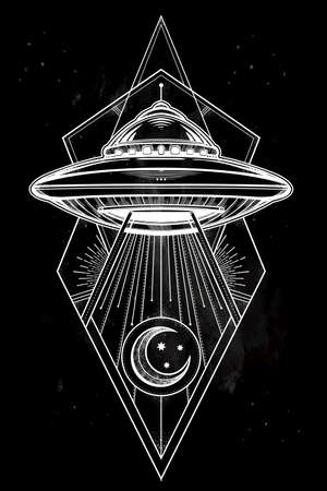 conspiracy: Alien Spaceship geometric design. UFO Background with flying saucer icon. Conspiracy theory concept, tattoo art. Isolated vector illustration. Illustration