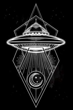 raumschiff: Alien Spaceship geometrischen Design. UFO Hintergrund mit Untertasse Symbol fliegen. Verschw�rungstheorie Konzept, Tattoo-Kunst. Isolierte Vektor-Illustration.