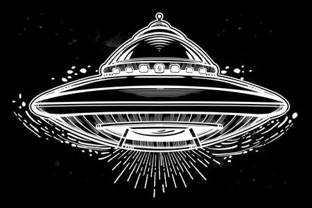 flying disc: Alien Spaceship. UFO Background with flying saucer icon. Conspiracy theory concept, tattoo art. Isolated vector illustration. Illustration