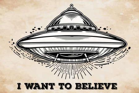 raumschiff: Alien-Raumschiff. UFO Hintergrund mit Untertasse Symbol fliegen. Verschwörungstheorie Konzept, Tattoo-Kunst. Isolierte Vektor-Illustration.