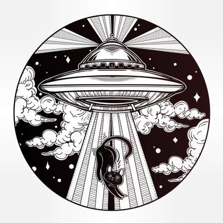 ufo conspiracy theory: Alien Spaceship. UFO Background with flying saucer icon. Conspiracy theory concept, tattoo art. Isolated vector illustration. Illustration