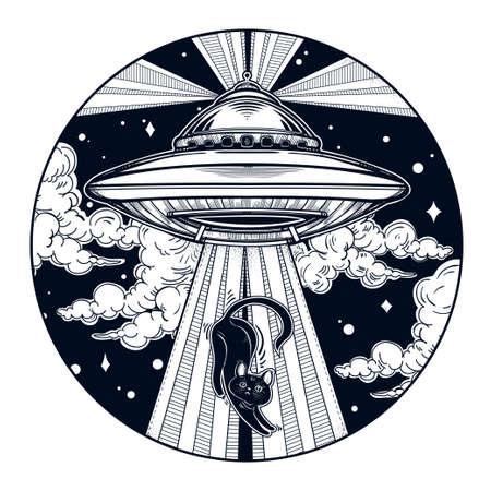 platillo volador: Nave espacial extranjera. Antecedentes UFO con el icono del platillo volante. concepto de teoría de la conspiración, el arte del tatuaje. ilustración del vector. Vectores