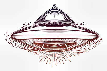 conspiracy: Alien Spaceship. UFO Background with flying saucer icon. Conspiracy theory concept, tattoo art. Isolated vector illustration. Illustration