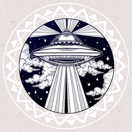night art: Abstract fantastic illustration - Alien Spaceship. UFO Background with flying saucer icon in the night sky. Conspiracy theory concept, tattoo art. Isolated vector illustration. Illustration
