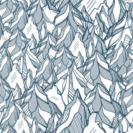 the great outdoors: Hand drawn mountain seamless pattern. Tribal wild ornament in line art style.  Isolated vector illustration. Ideal pattern for travel, boho, adventure, meditation. The great outdoors.