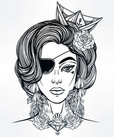 hair coloring: Hand drawn beautiful artwork of female pirate sailor portriat wearing eye patch in flash tattoo art style.  Coloring books, spirituality, occultism, tattoo art, sea. Isolated vector illustration.