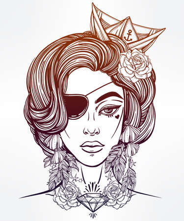 eye patch: Hand drawn beautiful artwork of female pirate sailor portriat wearing eye patch in flash tattoo art style.  Coloring books, spirituality, occultism, tattoo art, sea. Isolated vector illustration.