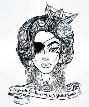 mujer pirata: Dibujado a mano ilustraciones hermosas de marinero mujer pirata con parche en el ojo en el estilo de arte del tatuaje flash. ilustración vectorial aislado citando la tipografía de la cinta. Un mar en calma nunca hizo un marinero hábil. Vectores