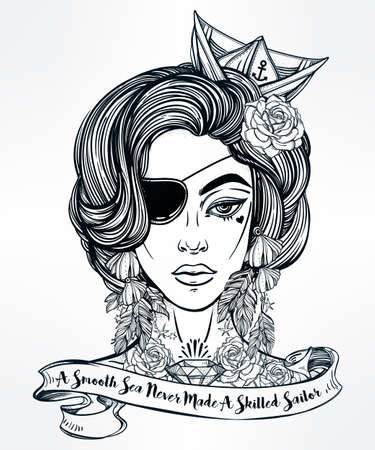 female pirate: Hand drawn beautiful artwork of female pirate sailor with eye patch in flash tattoo art style. Isolated vector illustration with ribbon typography quote. A smooth sea never made a skillful sailor. Illustration