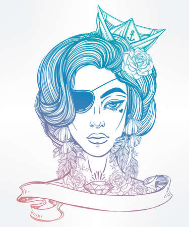 text books: Hand drawn beautiful artwork of female pirate sailor portriat with eye patch in flash tattoo art style. Coloring books, tattoo, sea. Isolated vector illustration with ribbon banner and space for text.