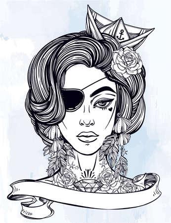 mujer pirata: Dibujado a mano ilustraciones hermosas de la hembra portriat del pirata con parche en el ojo marinero en el estilo de arte del tatuaje flash. libros para colorear, tatuajes, mar. ilustración vectorial aislado con la bandera de la cinta y el espacio para el texto.