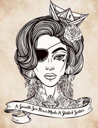 bonito: Dibujado a mano ilustraciones hermosas de marinero mujer pirata con parche en el ojo en el estilo de arte del tatuaje flash. ilustración vectorial aislado citando la tipografía de la cinta. Un mar en calma nunca hizo un marinero hábil. Vectores