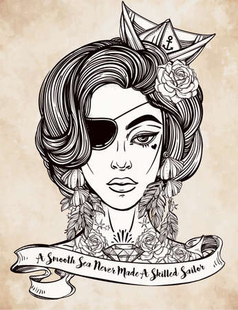 beautiful: Hand drawn beautiful artwork of female pirate sailor with eye patch in flash tattoo art style. Isolated vector illustration with ribbon typography quote. A smooth sea never made a skillful sailor. Illustration