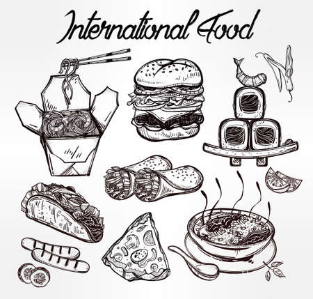 sketch out: International food set for menu. International world food vector illustrations. Vector menu sketch. Fusion cuisine menu. Hand drawn international food menu. Template for restaurant or take out.
