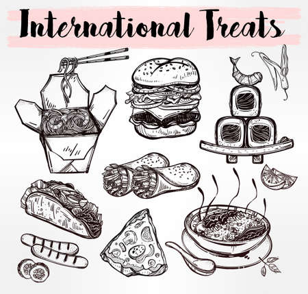 sketch out: International food set for menu. International world food vector illustrations. Vector menu sketch. Fusion cuisine menu. Hand drawn international food menu. Template for restaurant or take out.
