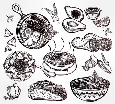 sketch out: Mexican hand drawn food set menu. International latin food vector illustrations. Vector menu sketch. Hispanic cuisine menu. Hand drawn international food menu. Template for restaurant or take out. Illustration