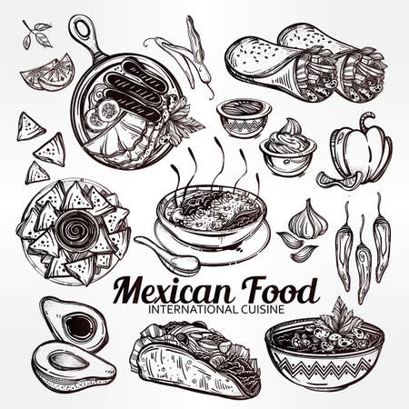 take out: Mexican hand drawn food set menu. International latin food vector illustrations. Vector menu sketch. Hispanic cuisine menu. Hand drawn international food menu. Template for restaurant or take out. Illustration