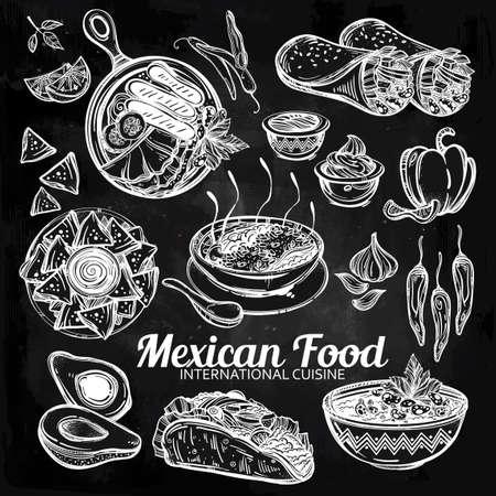 enchilada: Mexican hand drawn food set menu. International latin food vector illustrations. Vector menu sketch. Hispanic cuisine menu. Hand drawn international food menu. Template for restaurant or take out. Illustration